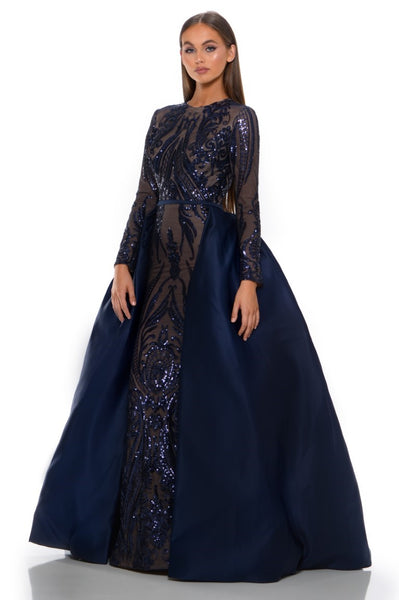 PS1705 LONG SLEEVES NAVY GOWN