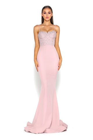 FROZEN  GOWN  WITH LACE TRAIN MAUVE