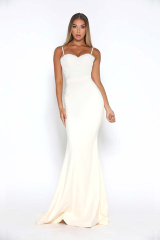FROZEN GOWN WITH LACE TRAIN CREPE IVORY
