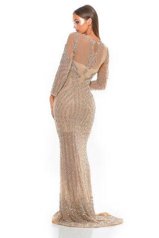 PS1946 SILVER NUDE COUTURE DRESS
