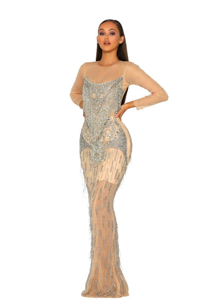 PS1947 SILVER NUDE DRESS