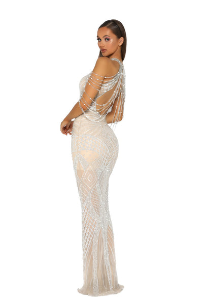 PS1962 GOWN SILVER NUDE