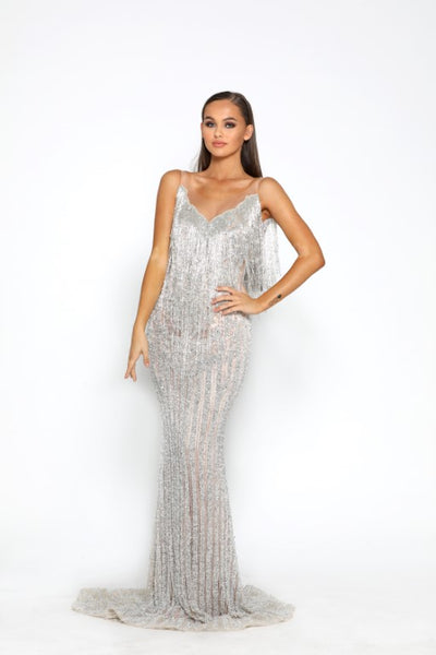 PS3009 SILVER COUTURE DRESS