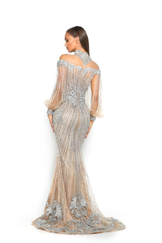 PS3011 SILVER NUDE COUTURE DRESS