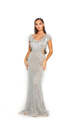 PS3012 SILVER NUDE COUTURE DRESS
