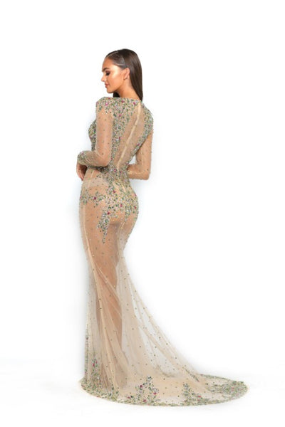 PS3018 BRONZE AB COUTURE DRESS