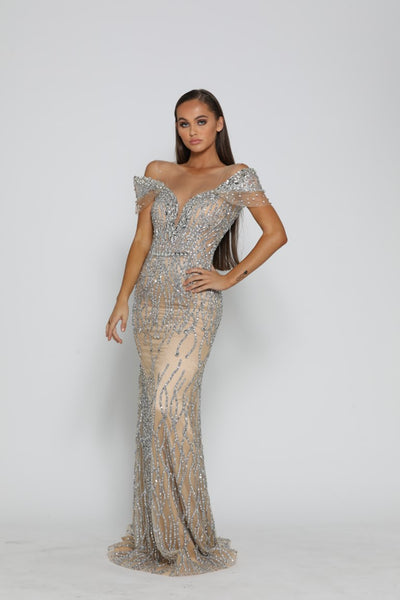 PS3020 SILVER NUDE COUTURE DRESS