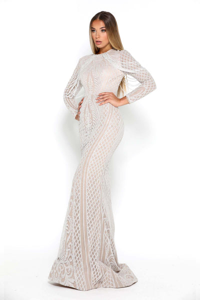 LILY GOWN LONG SLEEVE IVORY NUDE