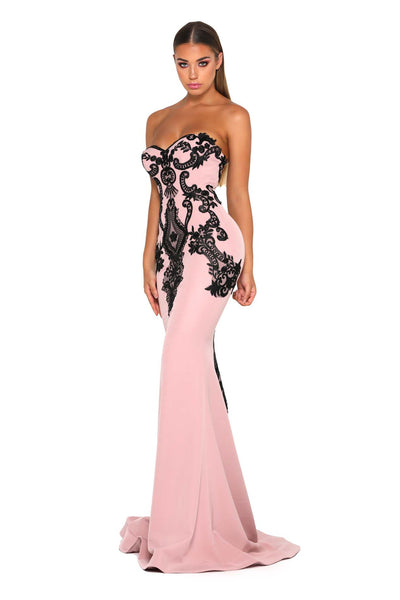 JASMINE GOWN BLUSH BLACK