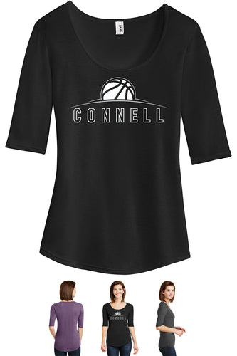 Ladies Tri-Blend 1/2 Sleeve T-Shirt - Connell Basketball