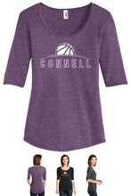 Load image into Gallery viewer, Ladies Tri-Blend 1/2 Sleeve T-Shirt - Connell Basketball