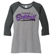 "Load image into Gallery viewer, Women's ""Swoosh"" Tri-Blend 3/4-Sleeve Raglan - CHS Softball"