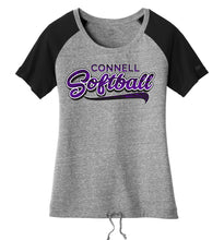 "Load image into Gallery viewer, ""Swoosh"" New Era® Ladies Tri-Blend Cinch Tee - CHS Softball"