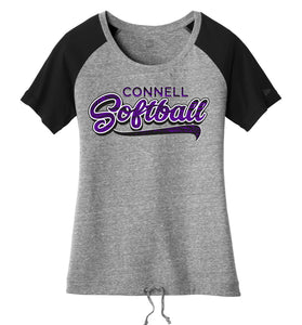 """Swoosh"" New Era® Ladies Tri-Blend Cinch Tee - CHS Softball"