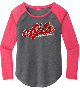 Ladies Tri-Blend Scoop Neck Raglan Tee - CBJLS