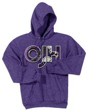Load image into Gallery viewer, Heather Purple standard hoodie with OJH logo