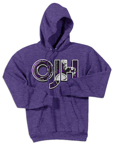 Heather Purple standard hoodie with OJH logo