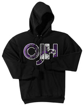 Load image into Gallery viewer, Black  standard hoodie with OJH logo