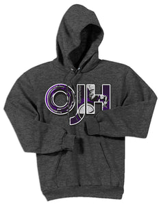 Dark Heather standard hoodie with OJH logo