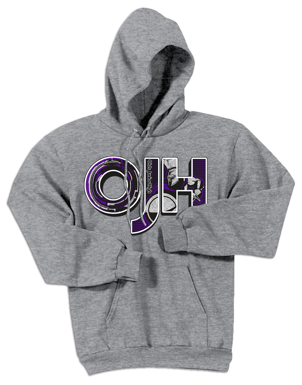 Sports Gray standard hoodie with OJH logo
