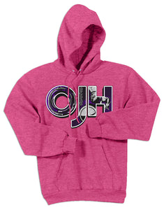 Heather Pink standard hoodie with OJH logo