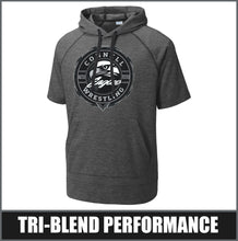 "Load image into Gallery viewer, ""Insignia"" Tri-Blend Short Sleeve Hoodie - CHS Wrestling"