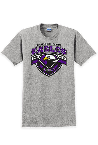 Connell High School - Eagle Empire Crest T-Shirt - Sports Gray
