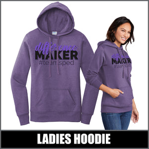 """Difference Maker"" Ladies Hoodie - #teamsped"