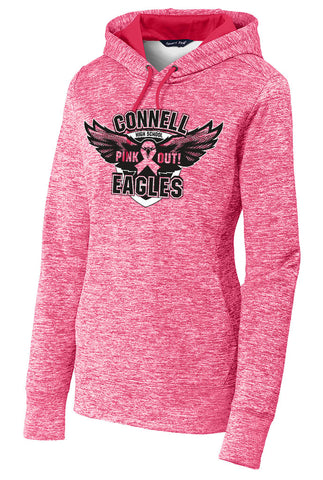Ladies Electric Heather Fleece Hoodie - Pink Out! - Connell Eagles