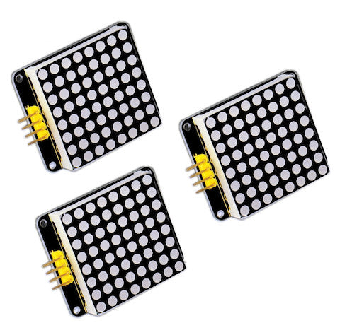 Set of 3 Matrix 8x8 (I2C, Red)