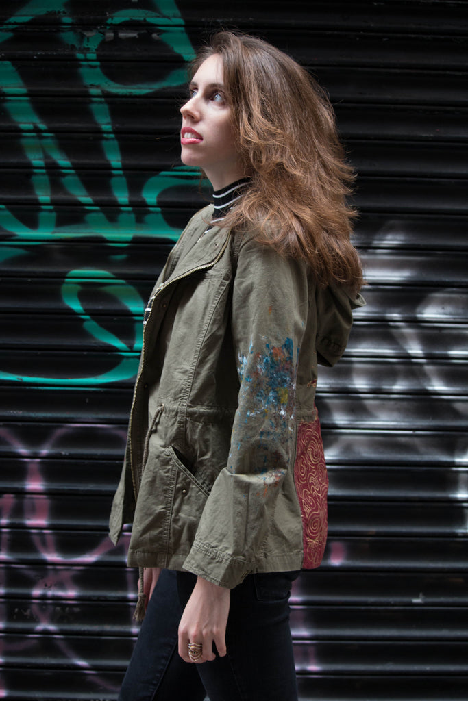 For the Birds Hand-Painted Utility Jacket