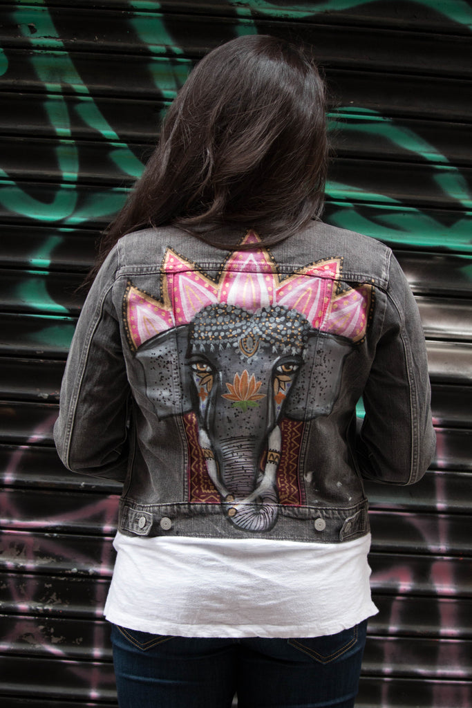 "Elegant Elephant Hand-Painted ""Revised Levi's"" Denim Jacket"