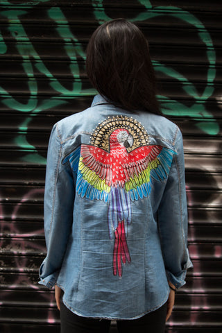 Toucan Sam Hand-Painted Denim Shirt