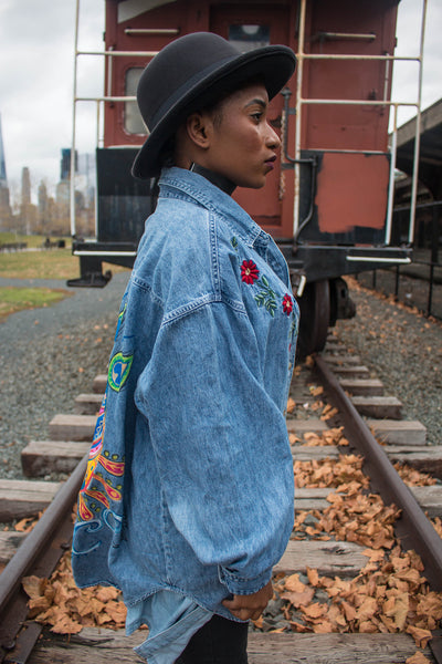 Higher Flower Hand-Painted Denim Tunic