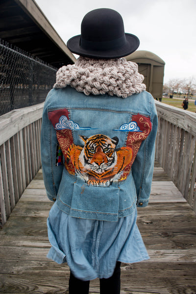 Easy Tiger Hand-Painted Vintage Denim Jacket