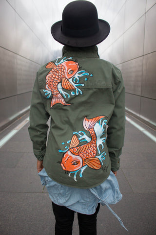 Oh Koi Hand-Painted Twill Buttondown Shirt