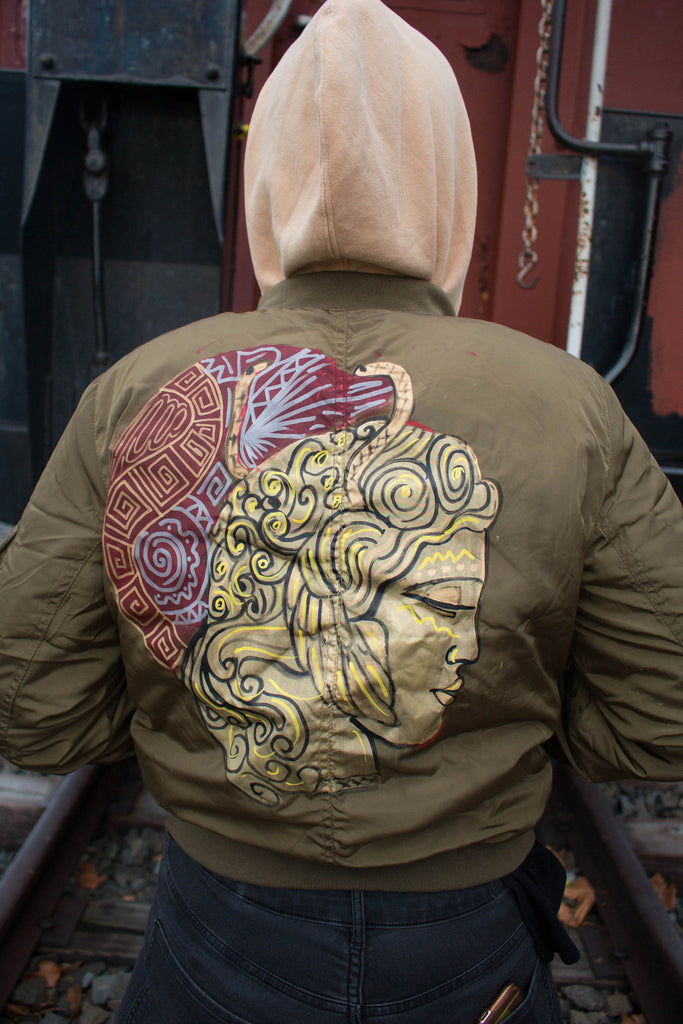 Greek to Me Hand-Painted Satin Bomber