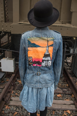 Empire State of Mind Hand-Painted Vintage Denim Jacket