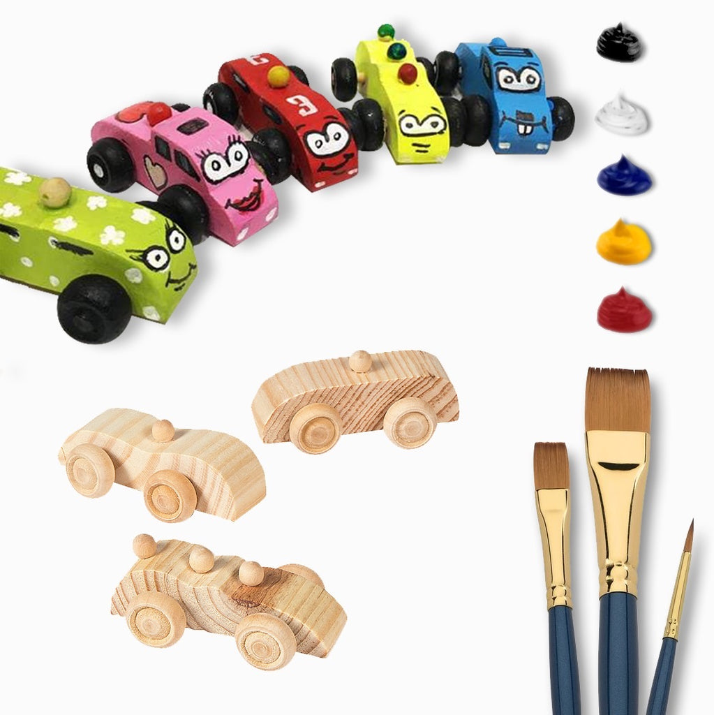 Deluxe Wooden Toy Car Painting Kit
