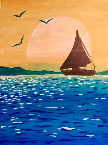 Sailing Boat Painting, Paint and Sip