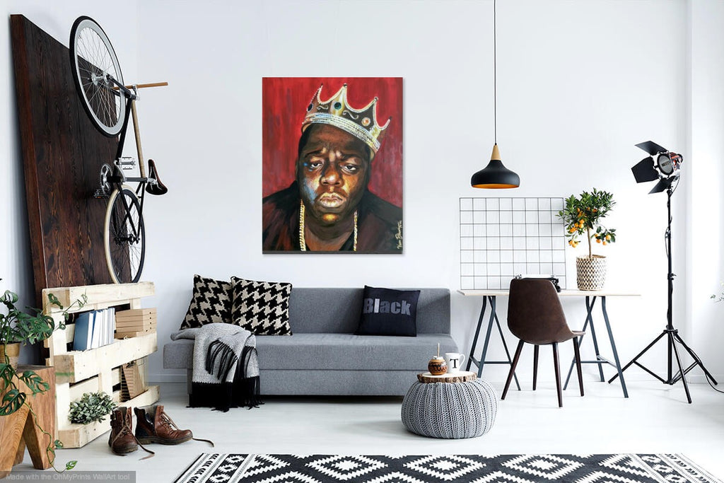 """King of New York"" Acrylic on Canvas Biggie Smalls Wall Art"