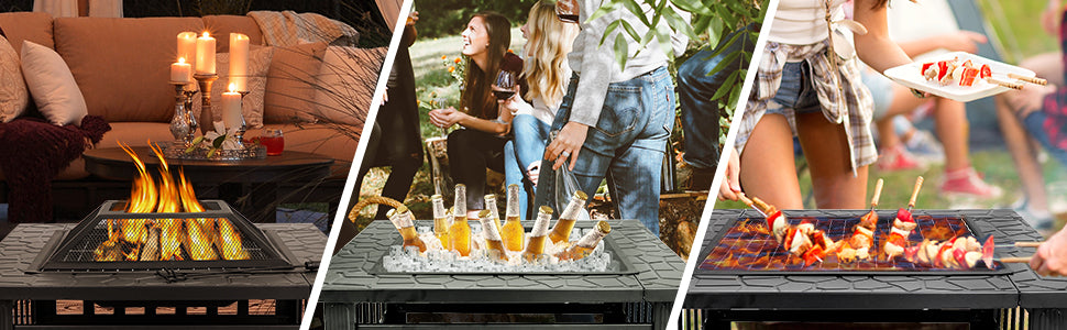 """Zeny 32"""" Fire Pit for Outdoor Patio Garden - Wood Burning, BBQ, Chilling Drinks"""