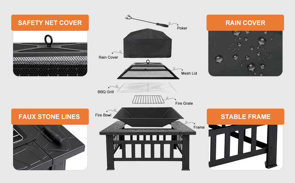 """Zeny 32"""" Fire Pit for Outdoor Patio Garden"""