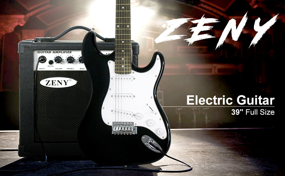 "Zeny 39"" Full-Sized Electric Guitar, Amp, Carrying Case Accessories Starter Beginner Package Bundle"