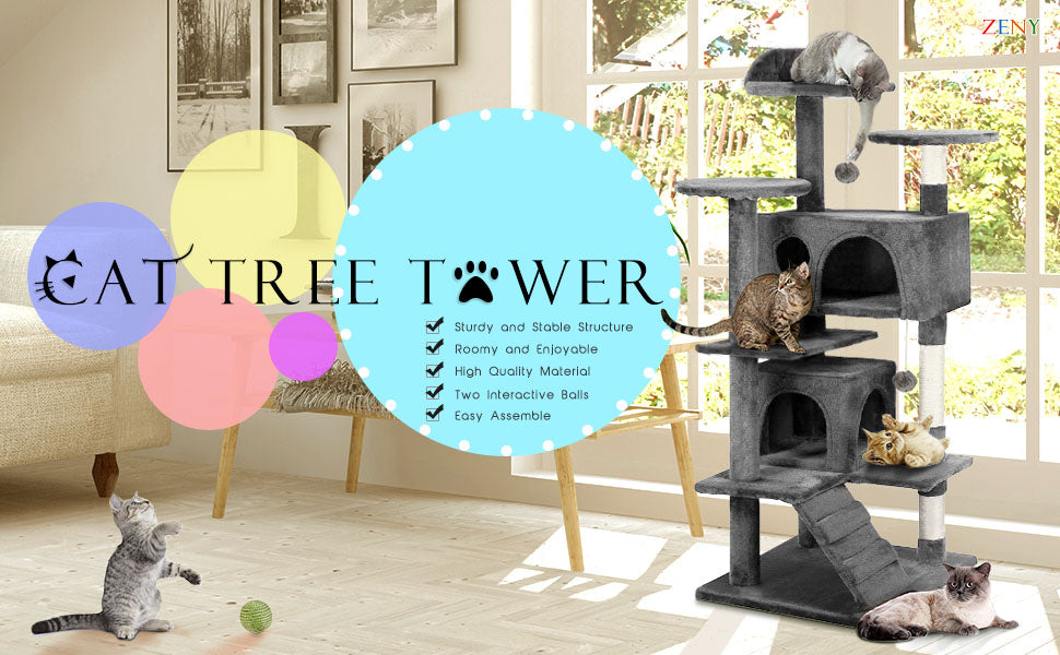 "Zeny 53"" Cat Tree Tower Furniture Condo Pet Playhouse"