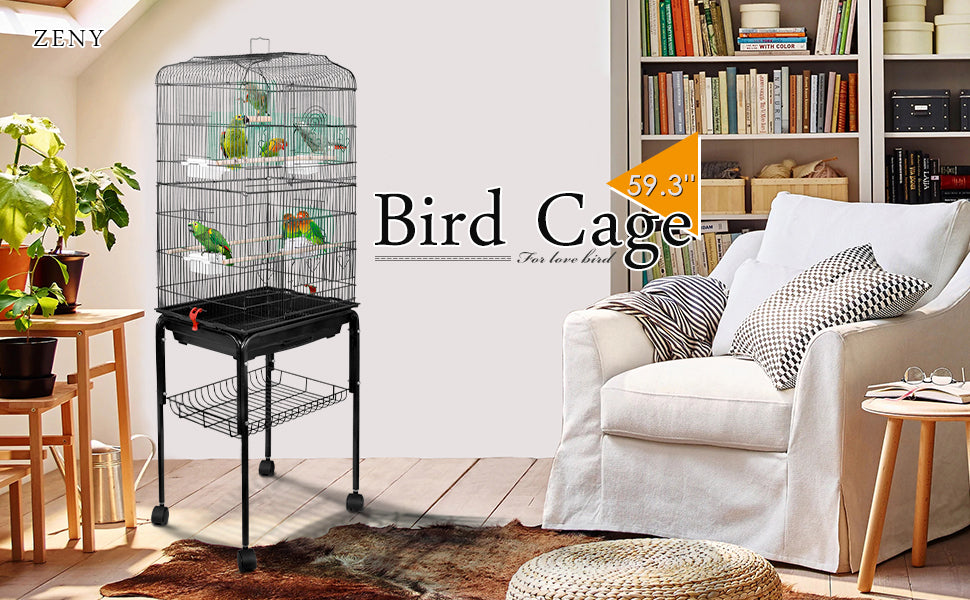 ZENY 59.3'' Flight Bird Cage for Cockatiel Parakeet w/Rolling Stand