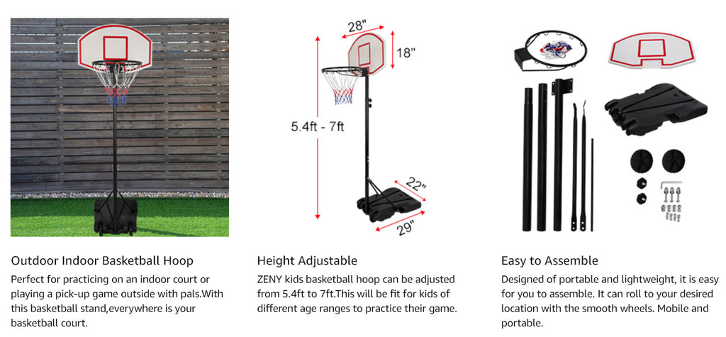Zeny youth, kids basketball hoop system