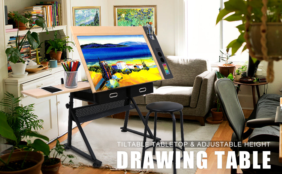 Zeny Adjustable Drawing Desk Drafting Table
