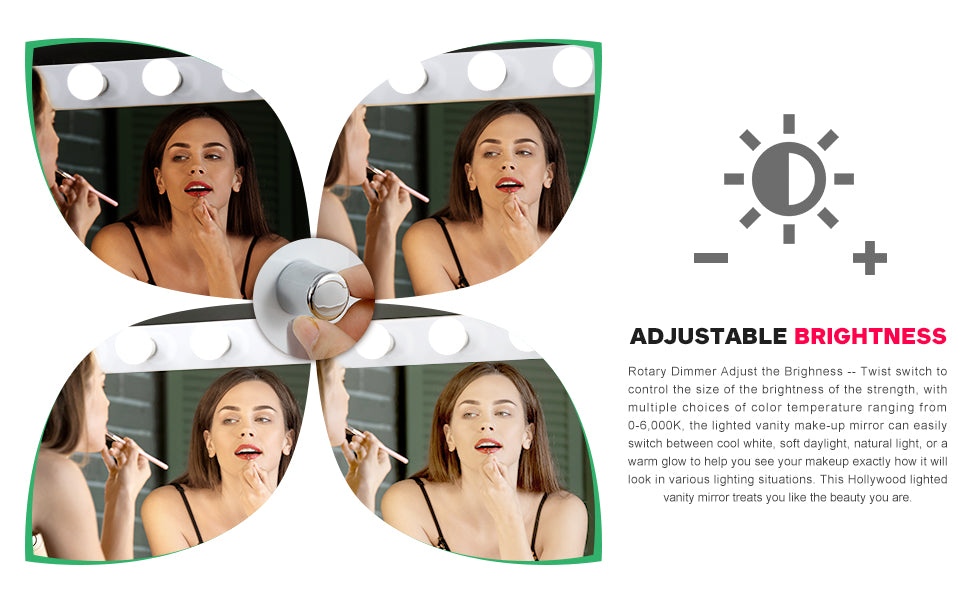 Zeny Hollywood Dimmable/Adjustable Light Vanitory Mirror