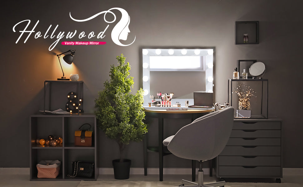 Zeny Hollywood Style Dimmable Light Vanity Mirror Table